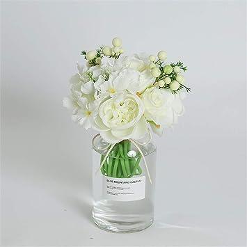 Licxcx Flores Artificiales Pequeño Cristal de Hortensia Creativo Fresco nórdico ins florero decoración de Sala de