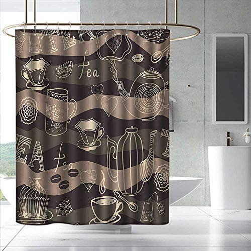 Fakgod Tea Party Shower Curtain with Hooks Stylized Tea Lettering Hot Pots Coffee Beans Doodle Hearts on Wavy Lines Bathroom Curtain Washable Polyester W36 x L72 Cocoa Brown Cream