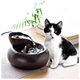 llkajes Pet Water Fountain Cat Water Fountain for Drinking Ultra-Quiet Ceramics Pump Pet Water Dispenser for Cat and Small Dogs 1.5L (Color : Brown)