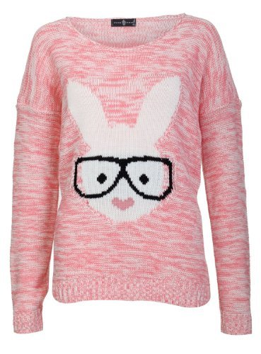 Jumper Rabbit - Aislinn Womens Long Sleeves Geek Rabbit Bunny Print Motif Knitted Jumper M/L (UK 12-14) Red