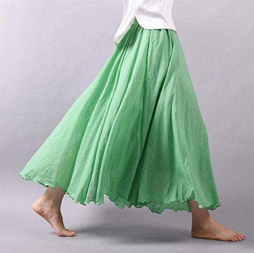 Elastique avec Jupe Diverse Couleur Longue WSLCN de Plisse Femme Coton Taille et Bohme Tour Lin en Vert Jupon zqf6wa1gxf