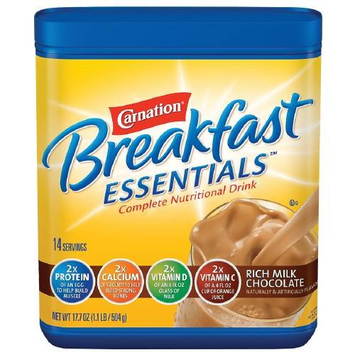 Carnation Breakfast Essentials Complete Nutritional Drink, Powder, Rich Milk Chocolate 17.7 oz (Pack of 6) by Carnation