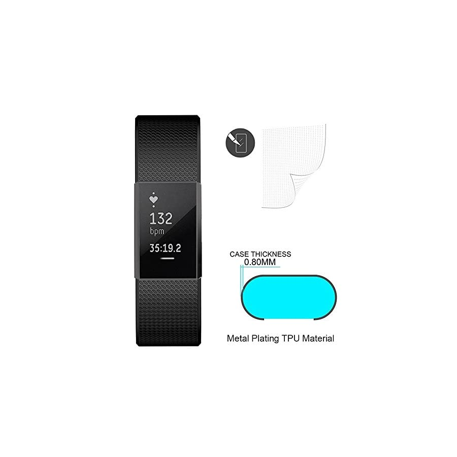 SIRUIBO Compatible Fitbit Charge 2 Case Screen Protector, Full Around Protective Case Cover Bumper Shell Compatible Fitbit Charge 2