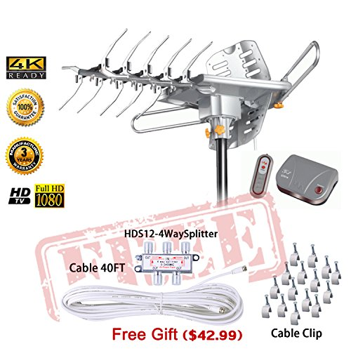 LAVA HD2605 Outdoor HD TV Antenna Remote Controlled Rotation Long Range 4K TV Installation Kit