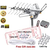 LAVA HD2605 Outdoor HD TV Antenna Remote Controlled Rotation Long Range 4K TV Top Rated + Installation Kit