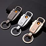 Jobon 2-in-1 Stylish Car key ring USB Rechargeable Cigarette Lighter ZB-8755(Gold)