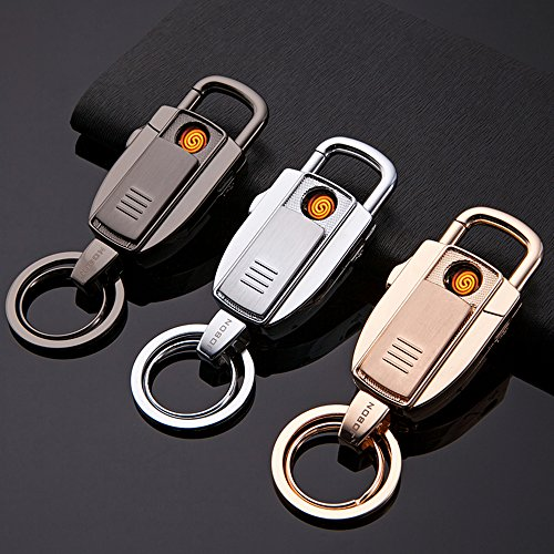 Jobon 2-in-1 Stylish Car key ring USB Rechargeable Cigarette Lighter ZB-8755(Gold) (Bikini Playing Cards)