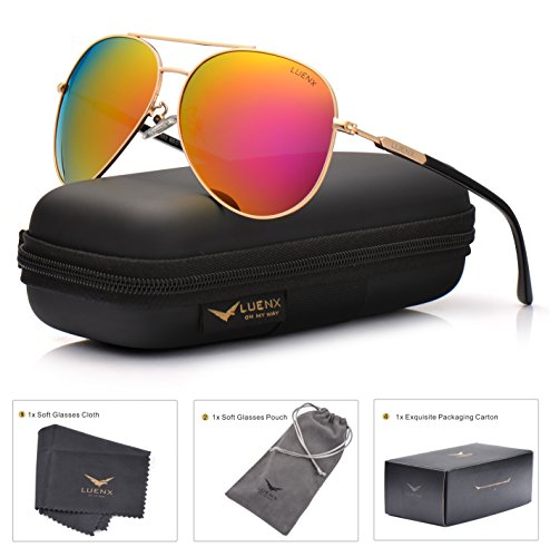 LUENX Aviator Sunglasses for Women Polarized Mirrored Rose Red Lens Gold Metal Frame Large - Red Mirrored Aviators