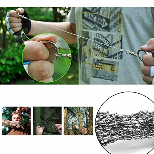 BlueStraw Survival Wire Saws Hand Pocket Steel Chain Wire Saw Camping Saw Ideal Outdoor Emergency Rescue Gear Kit for Camping Hiking Hunting, Pack of 3