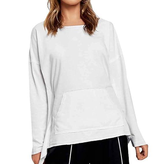 BeautyTop Frauen Langarmshirt Baumwolle Bluse Weiß Sexy Oberteile  Einfarbiger Herbst Langarm Damen Hemd Stilvolle Elegante Tops Casual  Asymmetrisch T-Shirt  ... 24e6e1d02d