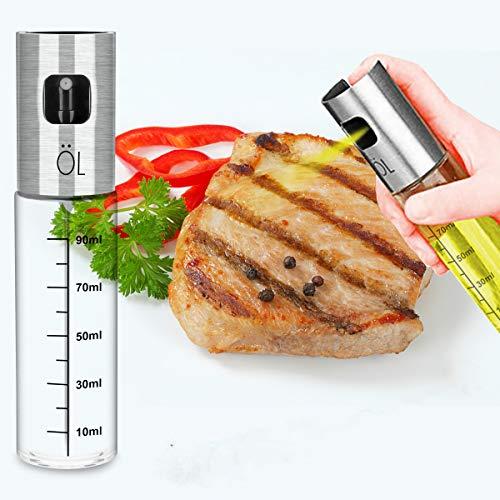 Olive Oil Sprayer for Cooking - Food Grade Glass Bottle Vinegar Oil Dispenser with Stainless Steel Funnel for Cooking, Salad, Grilling,BBQ, Kitchen, Baking, Roasting