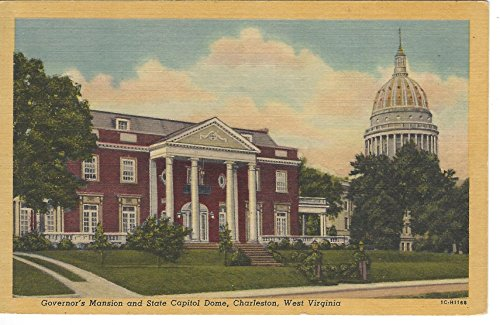 1940s Vintage Postcard - Governor's Mansion and State Capitol Dome - Charleston West Virginia