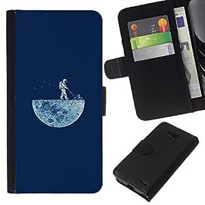 LECELL--Cuero de la tarjeta la carpeta del tirón Smartphone Slots Protección Holder For LG OPTIMUS L90 -- DIVERTIDO LAWNING LA LUNA --