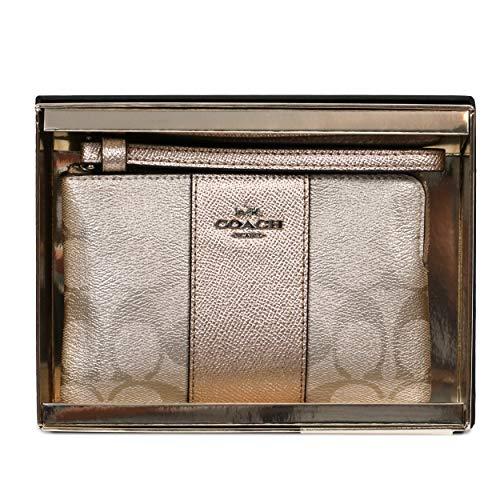 Coach Boxed Corner Zip Wristlet (Signature Metallic Platinum), Small