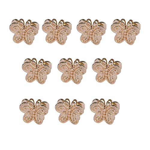 Mystart 10 Pcs 24K Gold-Plated Double-Sided Butterfly Beads Loose Beads DIY Bracelet Hair Accessories Charms