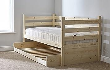 Sofá cama con cama nido, tamaño individual, color madera ...