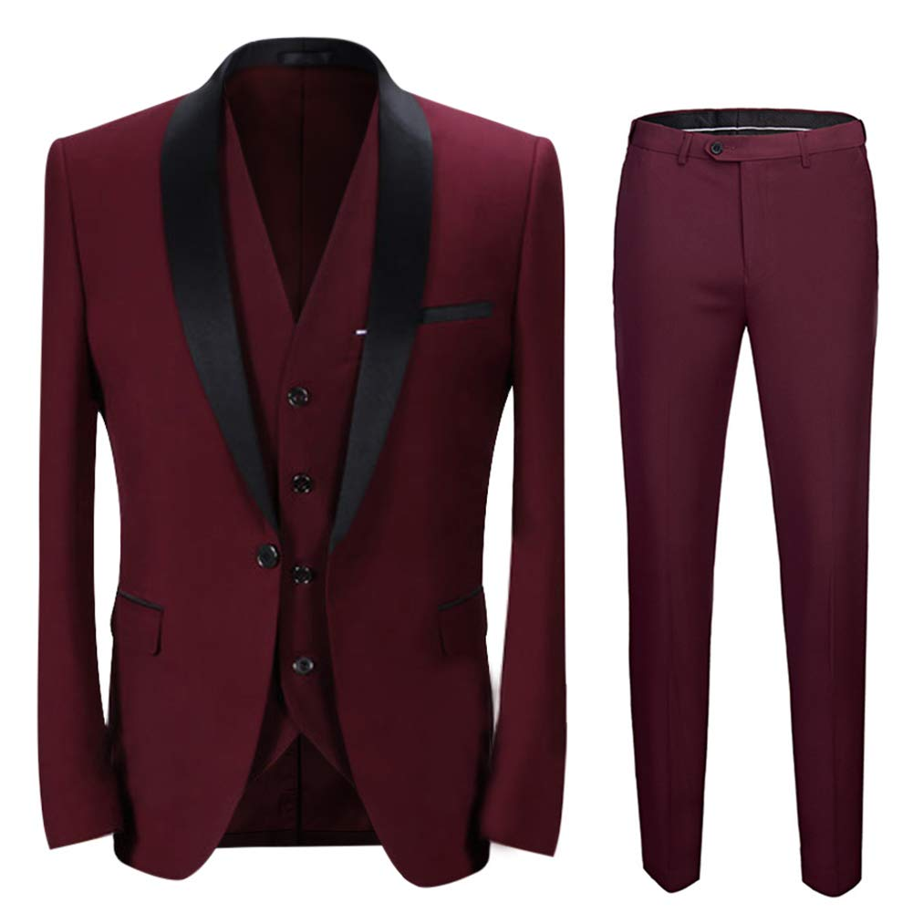Boyland Men's 3 Pieces Suit Shawl Lapel Tuxedo Suits Shawl Lapel One Button Tux Jacket Vest Trousers Dinner Wedding Claret by Boyland