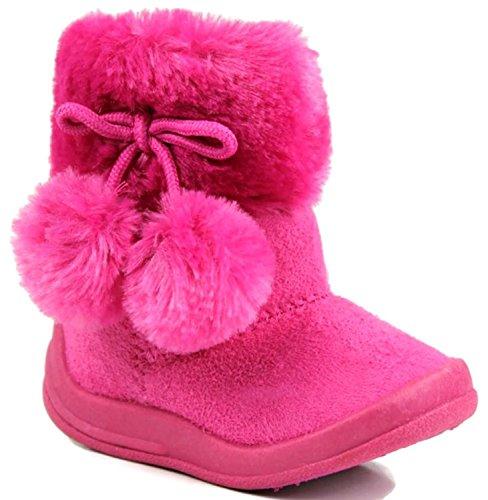Kali Footwear Little Girl's Bany FlatPom PomAnkle Boot, Hot Pink (Toddler Hot Pink Footwear)