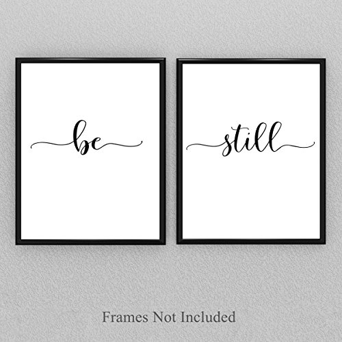 Be Still - Set of Two 11x14 Unframed Typography Art Prints - Great Gift for Home Decor by Personalized Signs by Lone Star Art