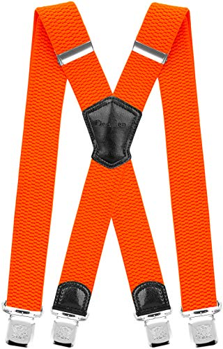 (Decalen Mens Suspenders Very Strong Clips Heavy Duty Braces Big and Tall X Style (Orange)