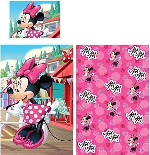 55.1 in x 37.5 in Disney Minnie Mouse Cot Bedding Set Pink Minnie Mouse Toddler Bedding Duvet Quilt Cover Pillowcase Reversible 2 Piece Toddler Bed Set Girls Set 100/% Cotton Official Licensed