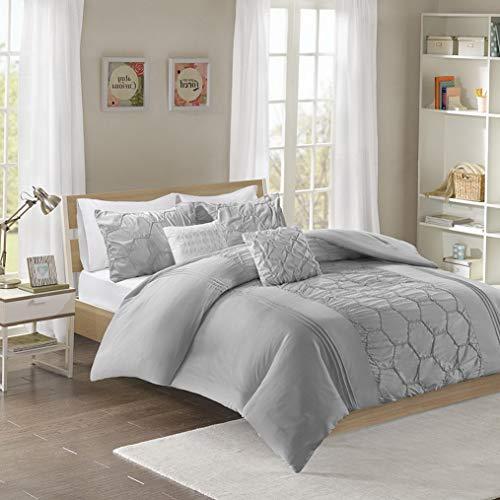 Kaputar Beautiful Modern Chic Soft Grey Ruffled TUFT Pleated Comforter Set 2 Pillows | Model CMFRTRSTS - 2398 | Twin Extra Long
