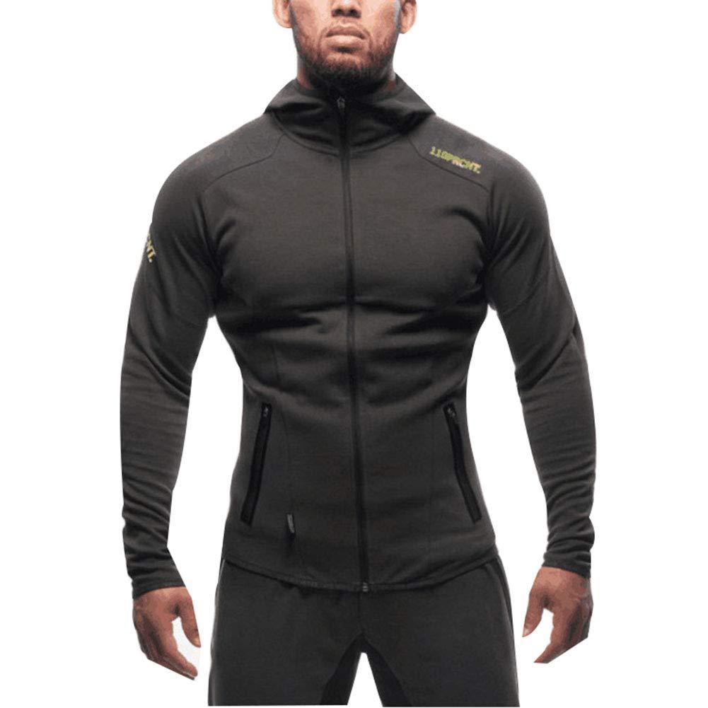 Sijux Herren Bodybuilding Langarm Slim Sweatshirts mit Reißverschluss Active Hoodies Sportjacken, Laufbekleidung