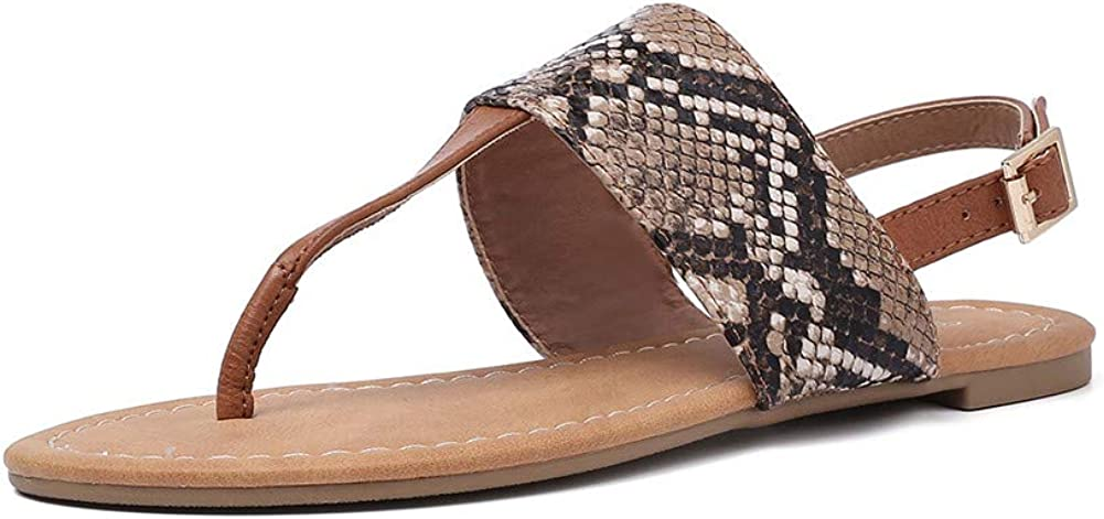 DecoStain Womens Classic Print Snakeskin Ankle Strap Flip-Flop Casual Beach Summer Sandals