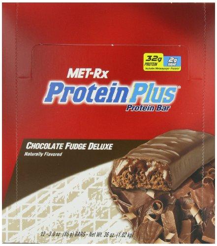 MET-Rx Белки плюс протеин Бар, Fudge шоколада класса люкс, 3 унции Бары (Pack из 12)