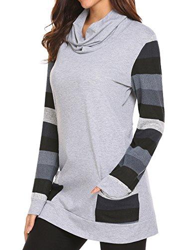 Unibelle Womens Color Block Striped Plaid Long Sleeve Cowl Neck Patchwork Pocket Tunics Blouse Tops,Flower Grey1,Large