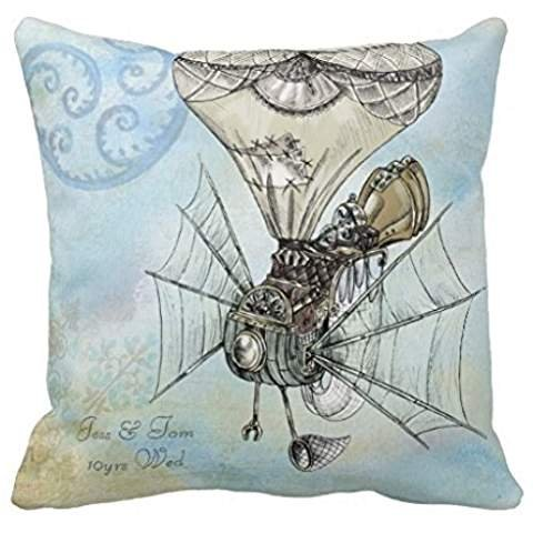 Watercolor Steampunk Any Years Wedding Anniversary Pillow Ca