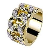 Sinwo Men and Women Unisex Electroplate Gold Diamond Ring Jewellery Wedding Ring Engagement Ring (9, Gold)