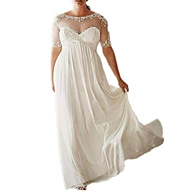 DreHouse Women\'s Chiffon Vintage Beach Wedding Dresses with Half Sleeves  Plus Size