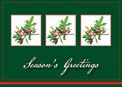Holiday Greeting Cards - H1202. Business Greeting Card with Holly Berries and Season's Greetings Message. Box Set Has 25 Greeting Cards and 26 White with Red Foil Lined (Seasons Greetings Holly)