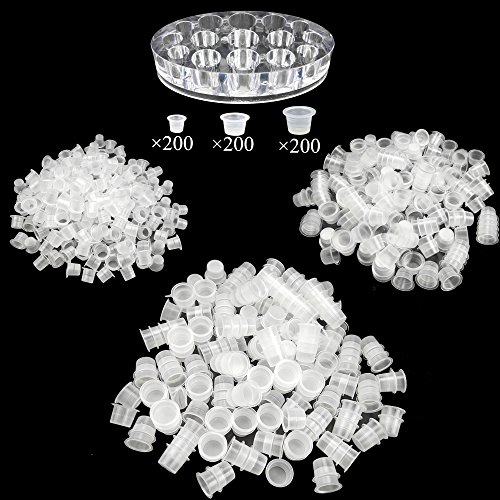 600 Pcs Disposable Plastic Clear Tattoo Ink Cups Small Medium Large for Tattooing and Eyelash with Tattoo Pigment Ink Cap Cup Holder Stand by SKYCOOOOL (Tattoo Case Ink)