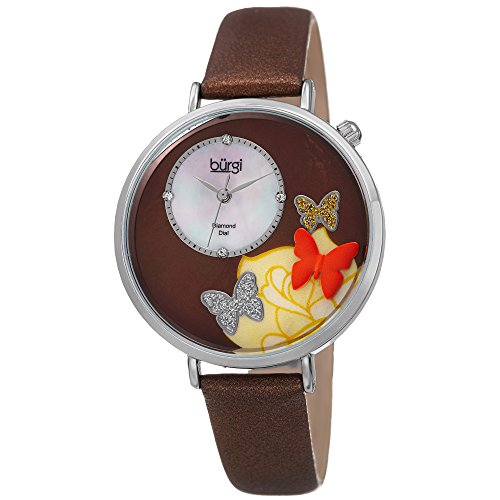 Quartz Flower Marker - Burgi Skinny Brown Leather Women's Watch with Crystal Butterflies, Genuine Diamond Markers and Flower Designs on Mother of Pearl Dial - Classic Round Analog Quartz - BUR158BR