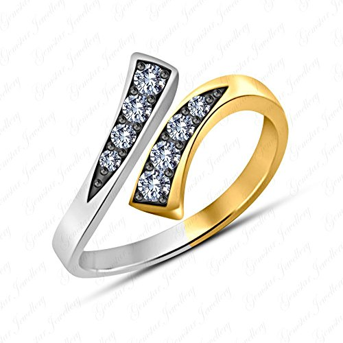 Gemstar Jewellery White Sim Diamond Pure 925 Silver 14k Two Tone Gold Over Adjustable Bypass Toe Ring ()