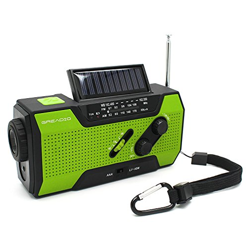 Emergency Weather Solar Crank Am Fm Noaa Radio With Portable 2000Mah Power Bank  Bright Flashlight And Reading Lamp For Household Emergency And Outdoor Survival  Green