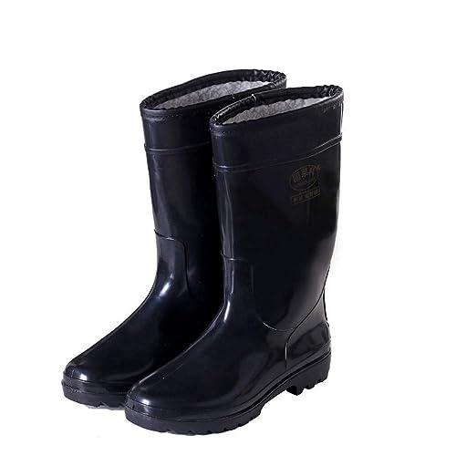 6b394db8c8e Hombres Zapatos de Goma más algodón Grueso Tubo de Trabajo Botas de  Lluvia