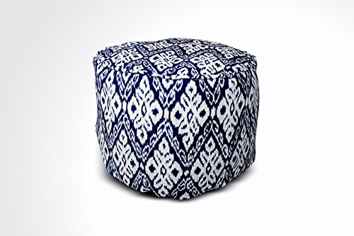 Round Ikat Pouf Ottoman, Dark Blue. Ethnic, Boho Pouf, Floor Cushion. Handwoven in Indonesia. 20''W x 12.5''H by Kasih Coop