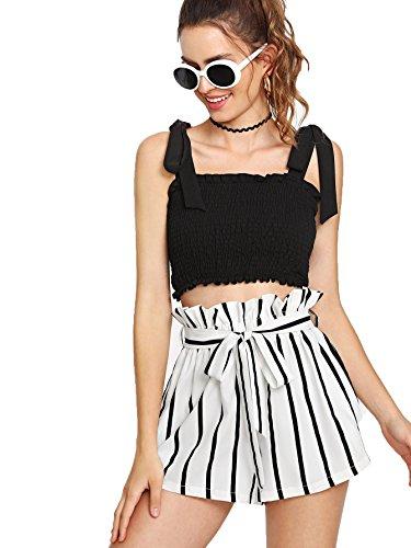 Casual Elastic Waist Striped Shorts