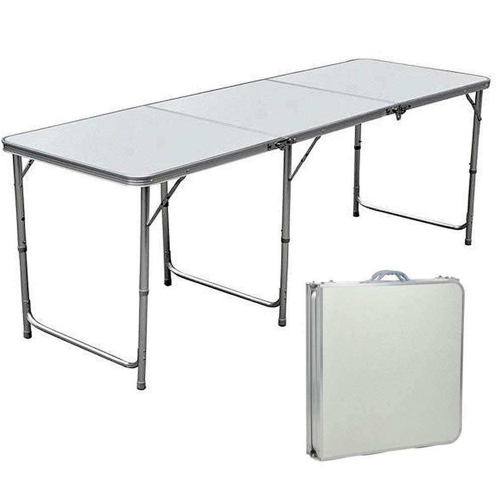 Lennov 6FT 1.8M Folding Camping Table - Rectangular - Super Tough, With Carry Handle, 180cm x 60cm x 70 cm