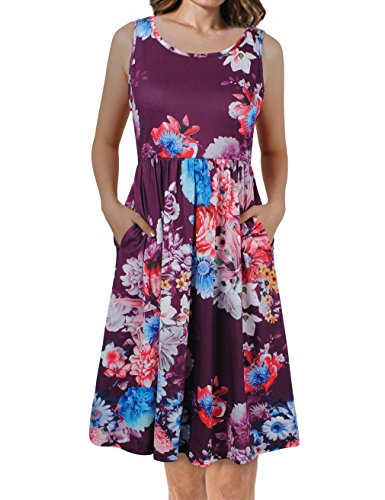 Faddare Sleeveless Dresses For Women,Countryside Vintage Sleeveless Printed Floral Dress,Red XXL (Country Floral Dress)