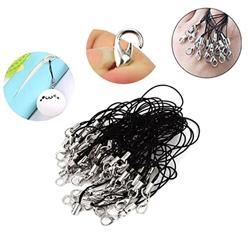 """2.75"""" 100 Pcs Black Lobster Clasped Lanyard - Silver Split Ring and Lobster Clasp for Cellphone Strap Trinkets Keyring Or DIY Jewelry Handmade Accessories Material"""
