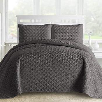 Amazon Com Mellanni Bedspread Coverlet Set Charcoal