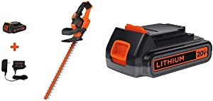 BLACK+DECKER 20V MAX Cordless Hedge Trimmer with Extra Lithium Battery 2.0 Amp Hour (LHT321FF & LBXR2020-OPE)