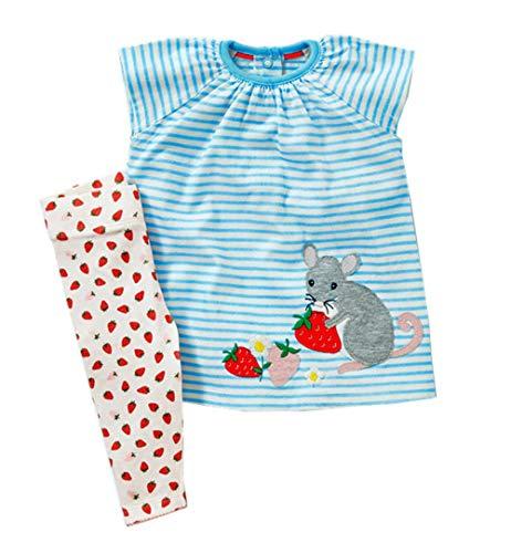 (Toddler Girls Cute Short Set Cotton Stripe Printed Outfits Set Short Sleeve Shirt Pants 2pcs )