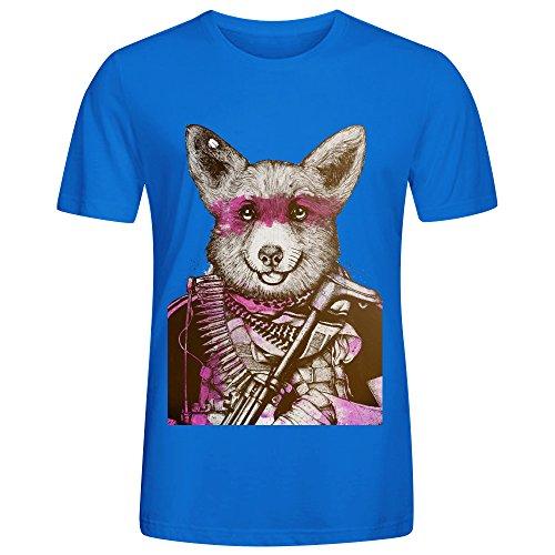 Badass Pets The Wild Corgi Men Round Collar Tee shirts Blue