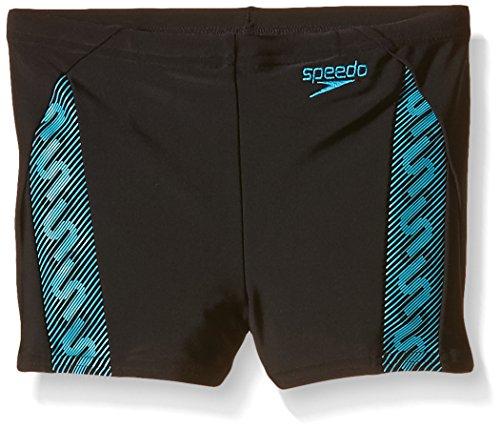 Speedo Jungen Badehose Monogram Aquashorts, Black/Adriatic Blue, 152, 8-09314A020