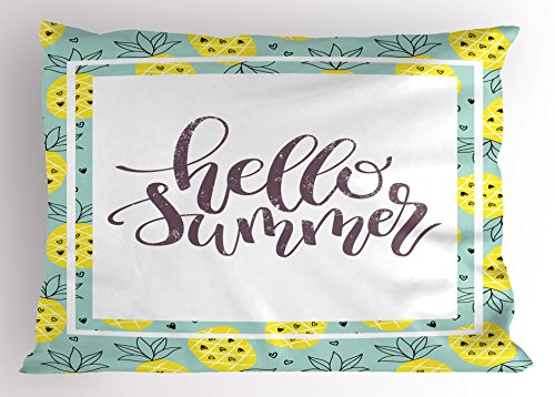Ambesonne Hello Summer Pillow Sham, Hand Lettering Phrase Print in Frame with Radiant Yellow Whole Pineapples, Decorative Standard Size Printed Pillowcase, 26 X 20 inches, ()